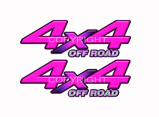 "4X4 Pink Starburst Decals Truck Magenta Truck Graphics Colored ""X"" 2 Pack"