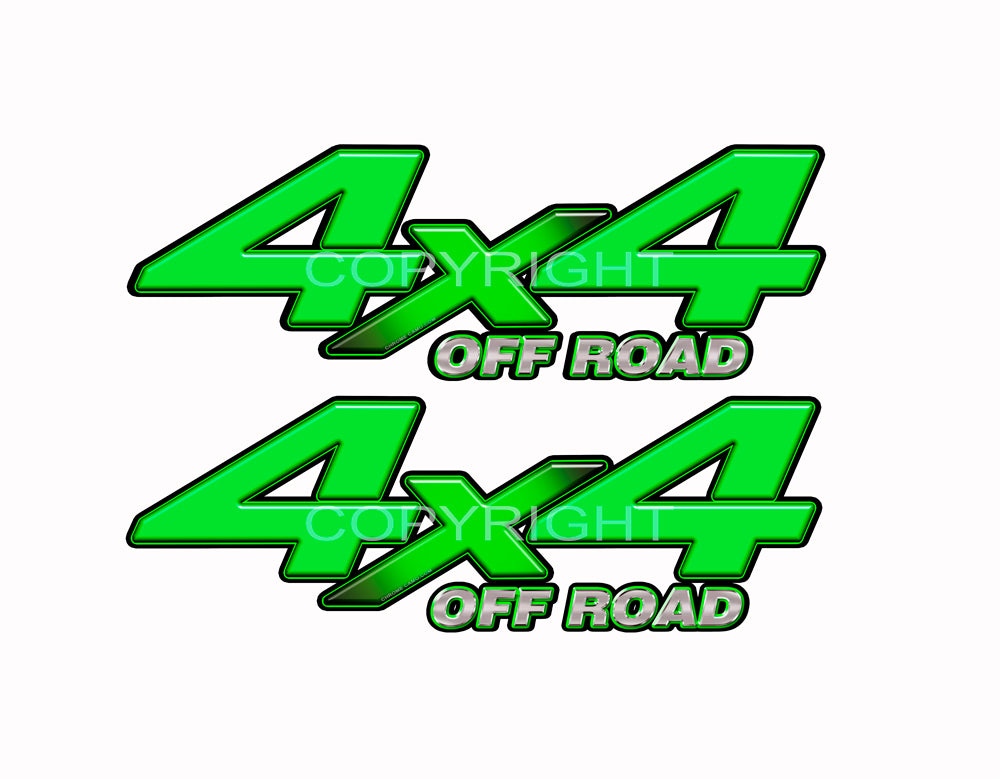 "4X4 Green Starburst Decals Truck Lime Green Graphics Colored ""X"" 2 Pack"