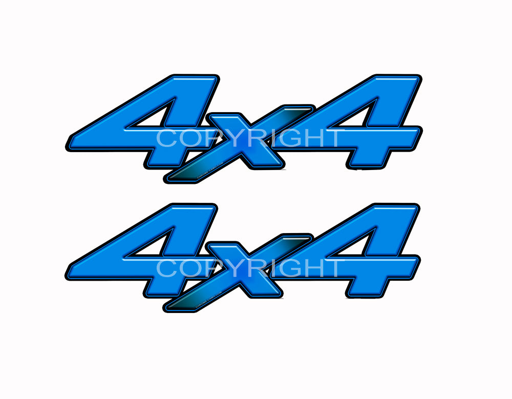 "4X4 Blue Starburst Decals Truck Light Blue Graphics Colored ""X"" 2 Pack"