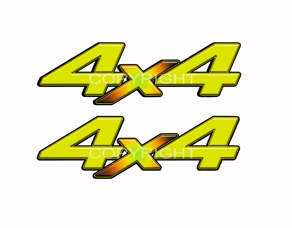 "4X4 Yellow Starburst Decals Truck Orange Graphics Colored ""X"" 2 Pack"
