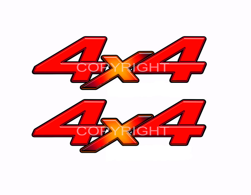 "4X4 Red Starburst Decals Truck Orange Truck Graphics Colored ""X"" 2 Pack"