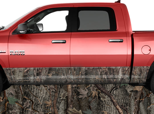 Oak Ambush Brown Rocker Panel Wrap Graphic Decal Wrap Truck Kit