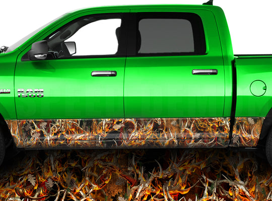 Buck Blaze Obliteration Camo Rocker Panel Wrap Graphic Decal Wrap Truck Kit