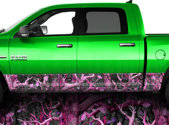 Pink Obliteration Camo Rocker Panel Wrap Graphic Decal Wrap Truck Kit