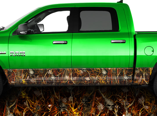 Blaze Skull Obliteration Camo Rocker Panel Wrap Graphic Decal Wrap Truck Kit