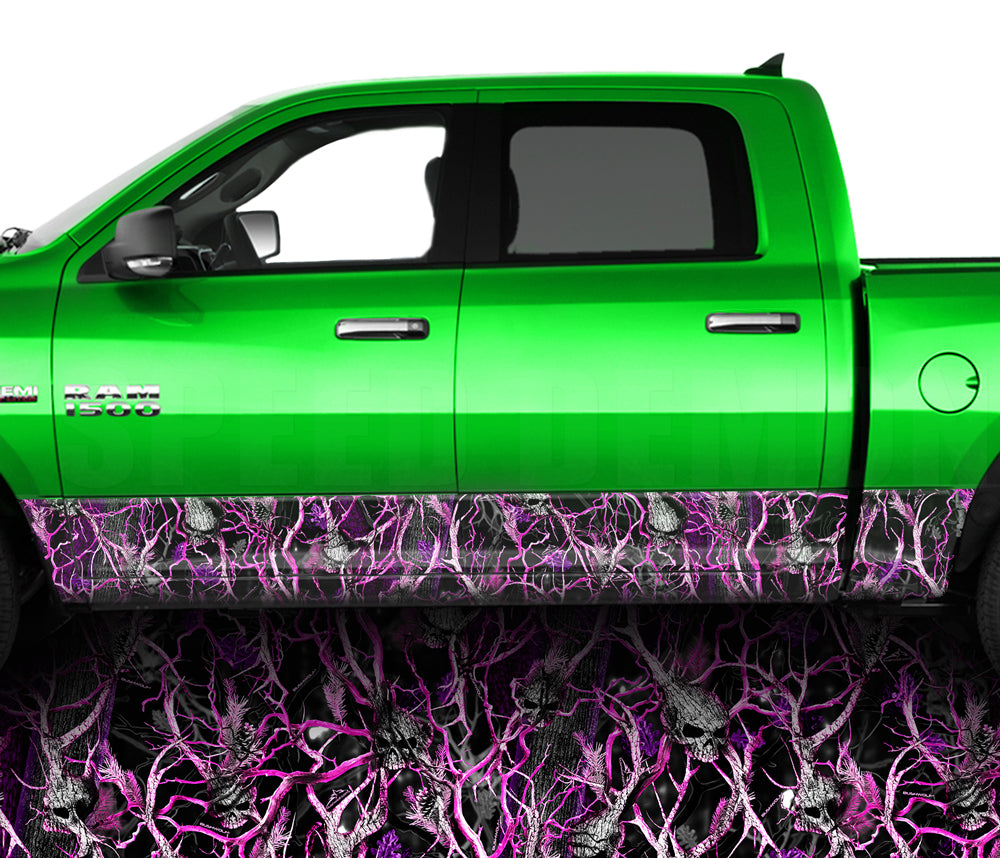 Pink Skull Obliteration Camo Rocker Panel Wrap Graphic Decal Wrap Truck Kit