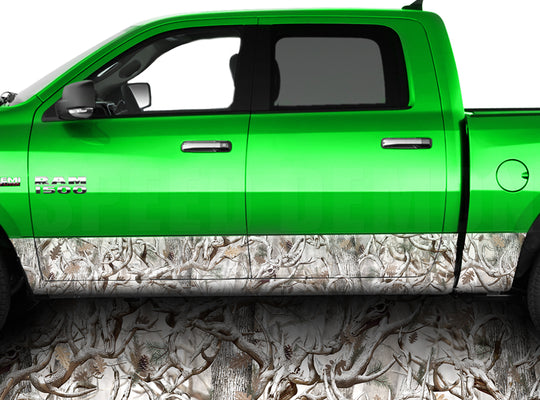 Buck Snow Obliteration Camo Rocker Panel Wrap Graphic Decal Wrap Truck Kit