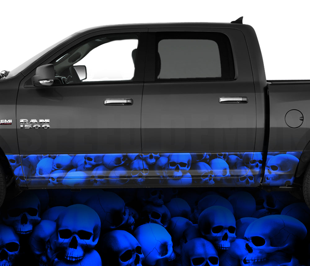 Rocker Panel Wraps Skulls Blue