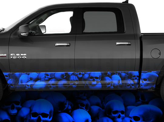 Rocker Panel Wraps Skulls Unhallowed Ground Blue