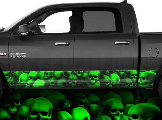 Rocker Panel Wraps Skulls Unhallowed Ground Green
