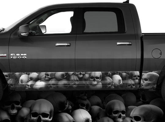 Rocker Panel Wraps Skulls Unhallowed Ground Grey