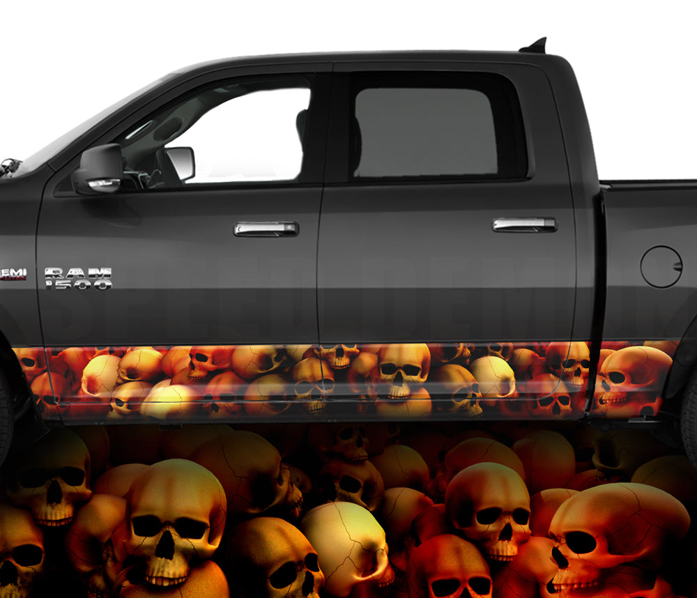 Rocker Panel Wraps Skulls Unhallowed Ground Red