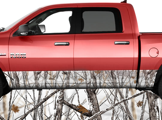 Snowstorm Snowy White Rocker Panel Wrap Graphic Decal Wrap Truck Kit