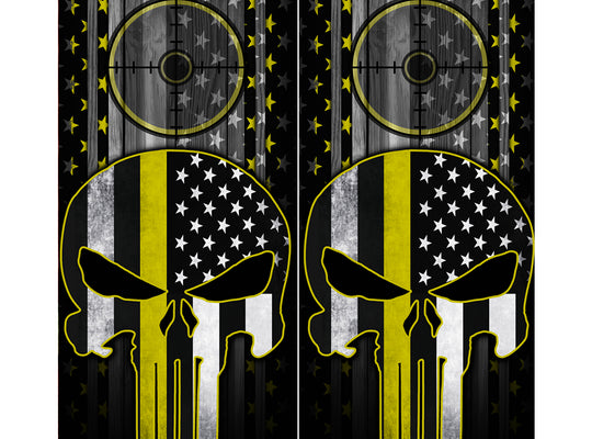 Cornhole Board Wraps - Yellow Line American Flag Punisher Target 2 PACK