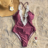 Lace Splicing Back Hook Closure One Piece Swimsuit