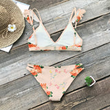 Floral Print Ruffle Reversible Two Piece Bikini Set