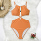 Orange High Neck One Piece Swimsuit