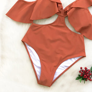 Orange Ruffle Cold Shoulder One Piece Swimsuit