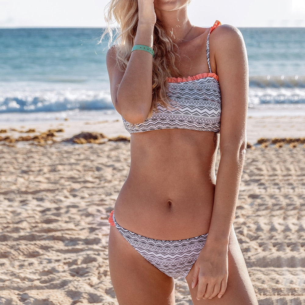 Ruffled Two PIece Bikini Set