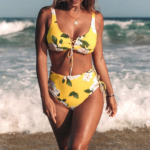 Yellow Floral Print High Waist Lace Up Two Piece Bikini Set