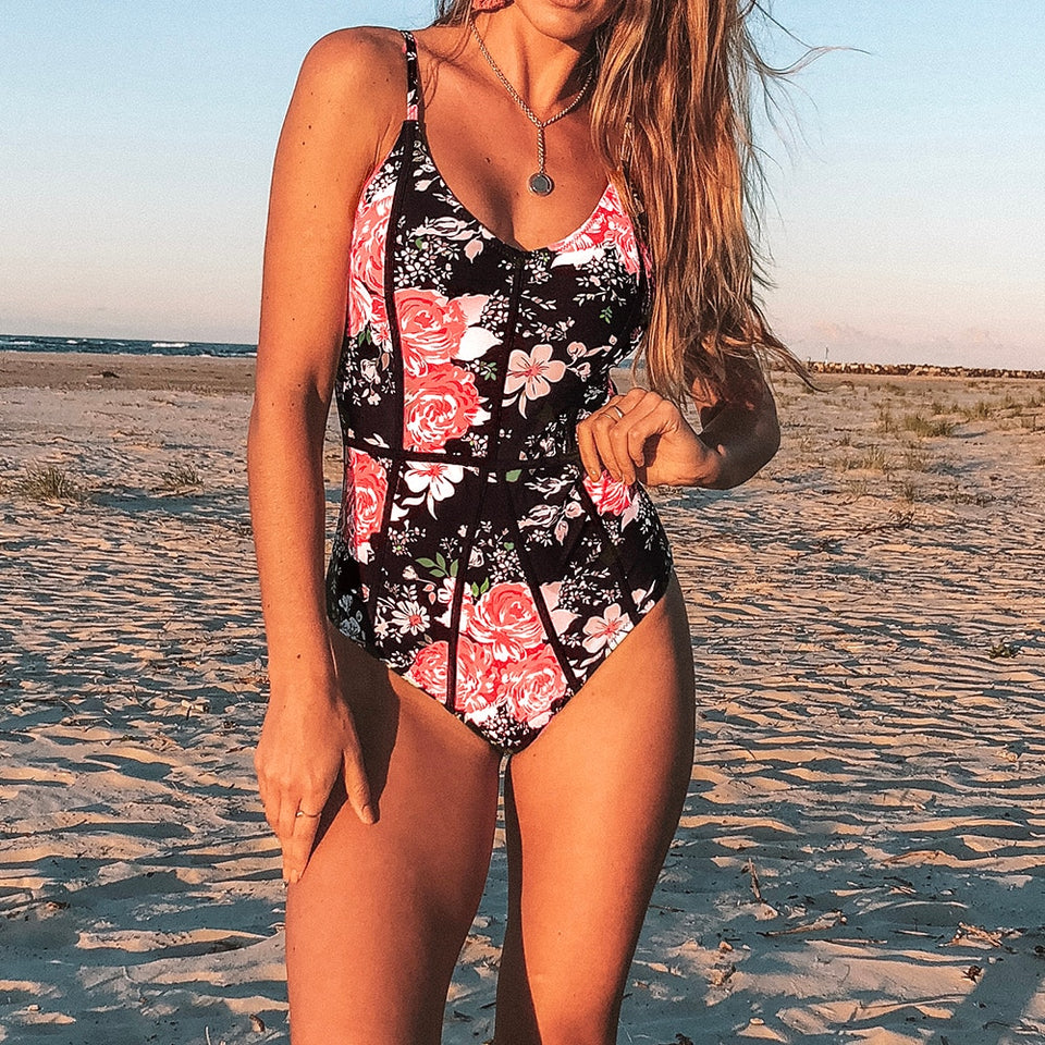 Hidden Fragrance Floral Print One Piece Swimsuit