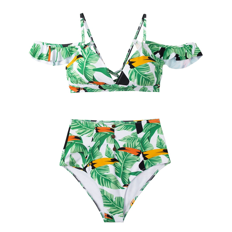 Green Leaves and Parrots Off-Shoulder Two Piece Bikini Set
