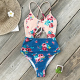 Pink And Blue Floral One Piece Swimsuit