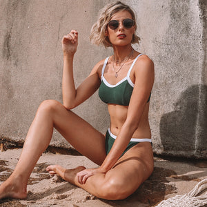 Dark Green Colorblock Two Piece Bikini Set
