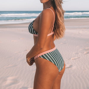 Green And White Stripe Triangle Two Piece Bikini Set