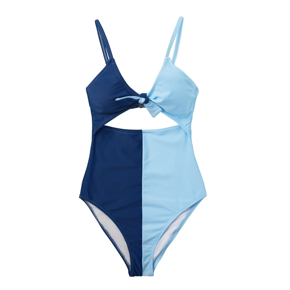 Blue Colorblock Tie Front Bow One Piece Swimsuit