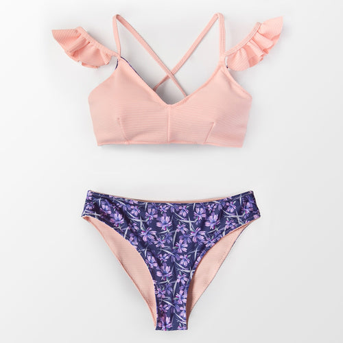 Pink Ruffled Crisscross Two Piece Bikini Set