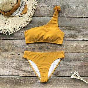 Yellow One Shoulder Two Piece Bikini Set