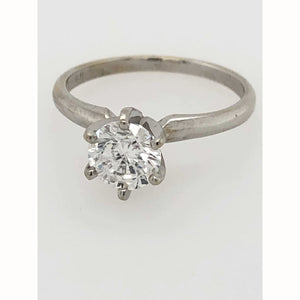 1.0Ct Diamond Solitaire 14Kt White Gold Ring Size 6.75 - Diamond Ring Loan Usa