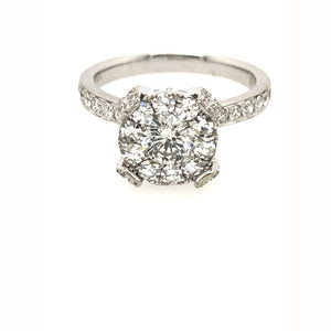 1.15CT Diamond Cluster Ring 14KT White Gold Size 6.75 - Diamond Ring Loan USA