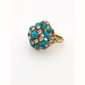 1.50CTW Diamond and Aqua Cluster Ring 18KT Yellow Gold Size 7 - Loan USA
