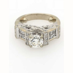1.85Ctw Antique Diamond Engagement Ring 14Kt White Gold - Diamond Ring Loan Usa