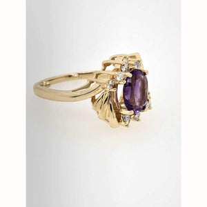 14Kt Yellow Gold Unique 1.25Ct Amethyst .25Ctw Diamonds Ring Size 7.75 - Gemstone Rings Amethyst Diamond Fashion Gemstones Gold Loan Usa