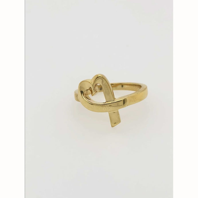 18KT Yellow Gold Tiffany and Co. Loving Heart Ring Size 7.5 - Gold Ring fashion gold Loan USA