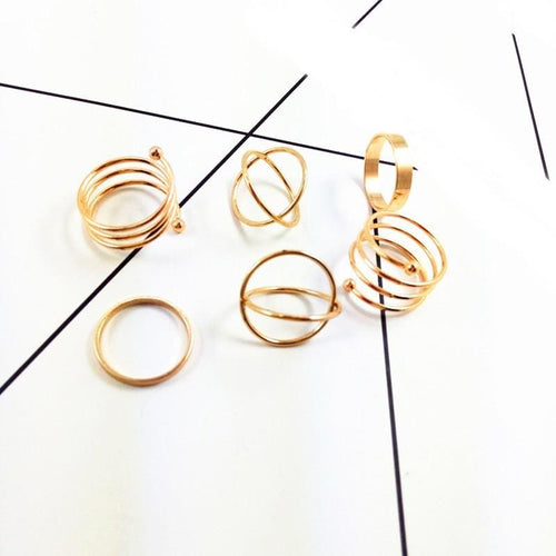6Pcs Fashion Women Lady Vintage Gold Plated Above Knuckle Ring Band Midi Ring - Gold - Christmas Costume Fashion Holiday Jewelry Loan Usa