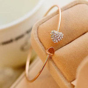 Crystal Love Heart Cuff - Gold - Christmas Cuff Cz Fashion Gems Loan Usa