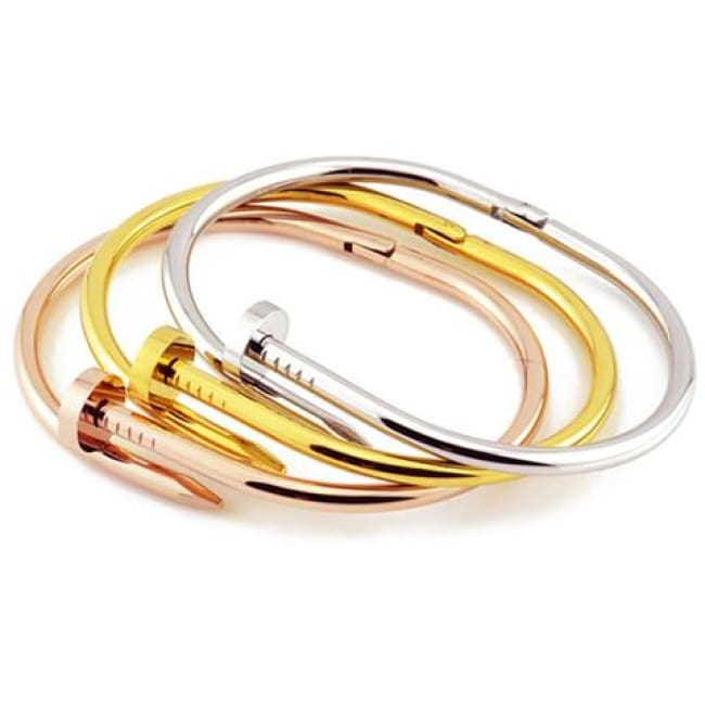 Designer Inspired Nail Bracelet - Gold - Cartier Designer Fashion Gold Holiday Loan Usa