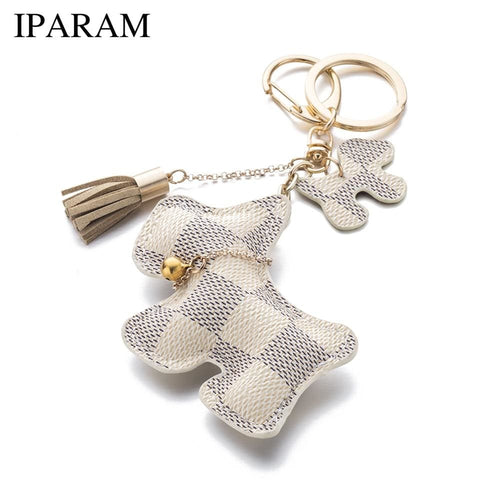 Iparam Fashion Cute Purse Dog Keychain - Dogs Fashion Gingham Keychain Loan Usa