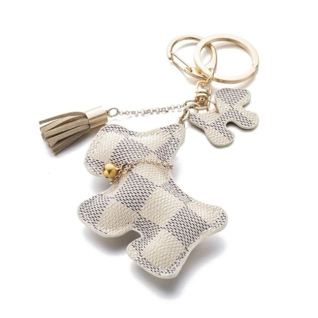 Iparam Fashion Cute Purse Dog Keychain - White - Dogs Fashion Gingham Keychain Loan Usa