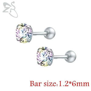 Round Crystal Studs Earrings Screw Ball Stainless Steel - Ab White Round / 3Mm - Child Children Earrings Stainless Steel Studs Loan Usa
