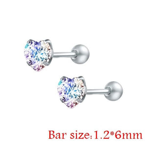 Round Crystal Studs Earrings Screw Ball Stainless Steel - Ab White Heart / 3Mm - Child Children Earrings Stainless Steel Studs Loan Usa