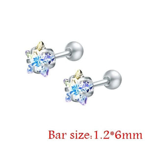 Round Crystal Studs Earrings Screw Ball Stainless Steel - Ab White Star / 3Mm - Child Children Earrings Stainless Steel Studs Loan Usa