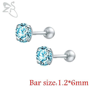 Round Crystal Studs Earrings Screw Ball Stainless Steel - Blue Round / 3Mm - Child Children Earrings Stainless Steel Studs Loan Usa