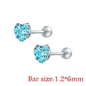 Round Crystal Studs Earrings Screw Ball Stainless Steel - Blue Heart / 3Mm - Child Children Earrings Stainless Steel Studs Loan Usa