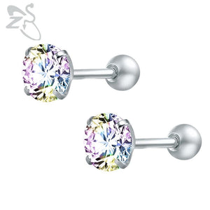Round Crystal Studs Earrings Screw Ball Stainless Steel - Child Children Earrings Stainless Steel Studs Loan Usa