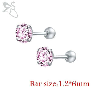 Round Crystal Studs Earrings Screw Ball Stainless Steel - Pink Round / 3Mm - Child Children Earrings Stainless Steel Studs Loan Usa